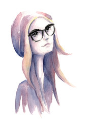 Watercolor hipster girl with glasses