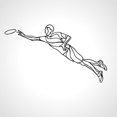 Sportsman throwing frisbee. Vector illustration