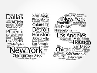 US letters with cities names word cloud, concept background