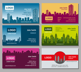 Real estate vector business card set. Card for business with building architecture and identity card with business house illustration