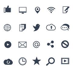 Wall Mural - Social media and network vector icons set. Internet network and  media social icon. Communication technology in social media illustration