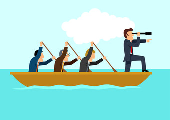 Simple cartoon of businessmen rowing the boat