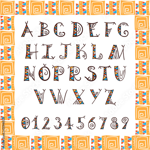 Tribal alphabet  Ethnic font vecto  African or Aztec style