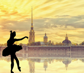 Silhouette of ballerina with Classic view of Saint-Petersburg river scape with a fog  at sunset Saint Petersburg, Russia