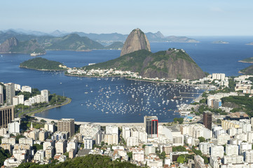 Classic scenic skyline overlook view of Rio de Janeiro city with Sugarloaf Mountain, Botafogo, and Guanabara Bay