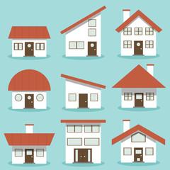 House architecture set. building, home, Flat design business financial marketing banking concept cartoon illustration.
