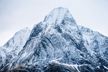 Detail view of snow capped mountain, Reine, Lofoten, Norway