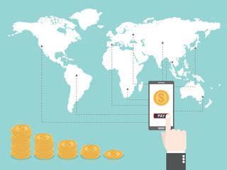 Mobile banking around the world. Flat design business financial marketing concept cartoon illustration.