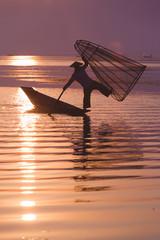 Intha fisherman in Inle village, Myanmar.