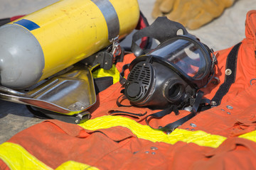 firefighter mask and equipment prepare for operation