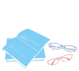 メガネ、眼鏡、めがね、サングラス, 夏, セット, Glasses, パターン, スペース、老眼鏡、リーディンググラス、読書、本