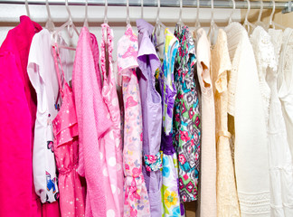 Colorful wardrobe of children clothes