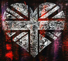 Union Jack Flag Heart Steam Punk Style