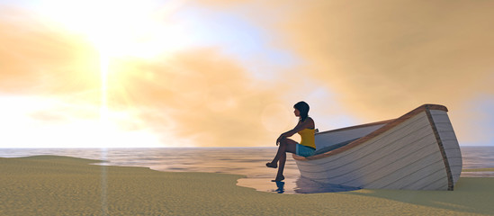 3D render of female figure on a beached boat. Wide format image; intense orange sunset, lens flare, depth-of-field, motion blur.