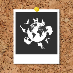 Vector cork board with instant photo card and Animals around planet Earth