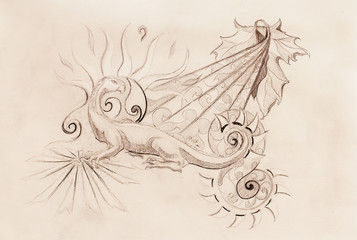 drawing of ornamental dragon and sun with wine leaf on old paper background.