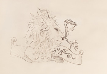 Lion with rose and ribbon with ornament, original drawing, pencil sketch on paper.