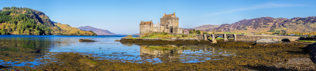 Panorama of Eilean Donan Castle in Highlands of Scotland