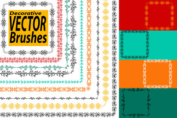 Vector Decorative Scribble Paintbrushes with Inner and Outer Corners. Hand Drawn Ink Brushes. Seamless Whimsical Borders for Patterned Frames. Dividers, borders, ornaments. Ink illustration.