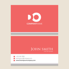 DO Logo | Business Card Template | Vector Graphic Branding Letter Element | White Background Abstract Design Colorful Object