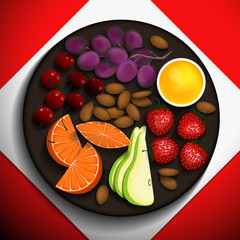 Strawberries, orange slices, cherries, grapes, almonds and honey on a brown plate. Vector illustration.