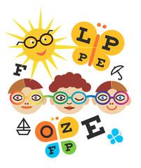 Children optometry test. Three children testing eyesight using eye chart.Vector available.