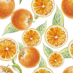 Watercolor seamless pattern of orange fruit with leafs. Vector illustration of citrus orange fruits. Eco food illustration