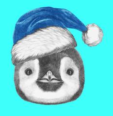 Portrait of Penguin with Santa Hat . Hand drawn illustration.