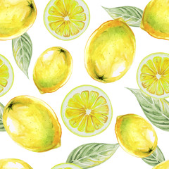 Watercolor seamless pattern of lemon fruit. Vector illustration of citrus fruits. Eco food illustration