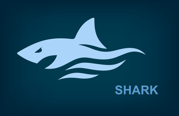 Sea shark logo, Marine predator, Vector illustration