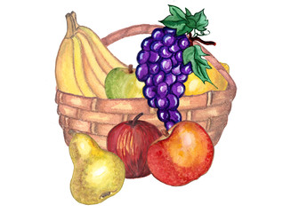 A basket of fruit on a white background