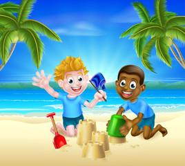 Cartoon Kids Having Fun in the Sand