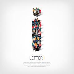 group  people  shape letter I vector