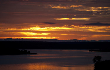 Wall Mural - Sunrise over the Kazinga channel. Africa. Uganda