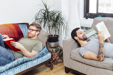 Male couple reading at home