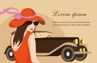 Card with young girl in red dress and red hat with retro car