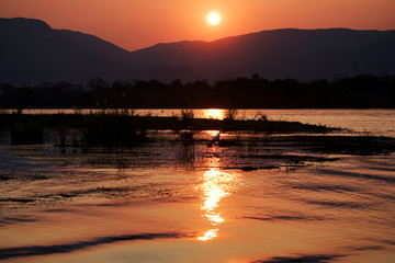 Wall Mural - Sunset on the Zambezi River. Africa. Border of Zambia and Zimbabwe.