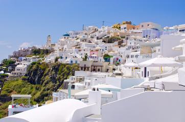 Cityscape of Thira in Santorini island, Greece