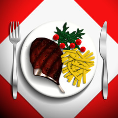 Grilled steak rib-eye and french fries with cherry tomato and arugula on white plate.