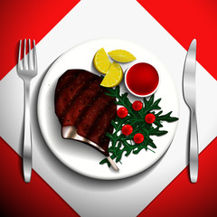 Grilled steak rib-eye with cherry tomato,  lemon and arugula on white plate.