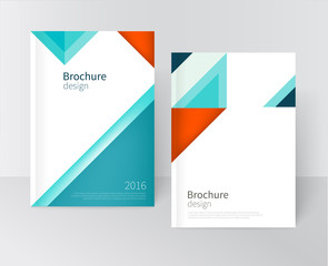 Brochure, leaflet, flyer, cover template. Modern Geometric Abstract background blue & red triangles. diagonal vertical composition minimalistic design concept/ vector-stock illustration 10 EPS.