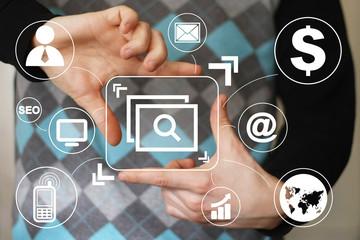 Business button web file icon virtual network