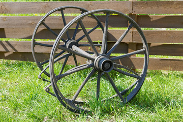 wooden wheels from an old wagon