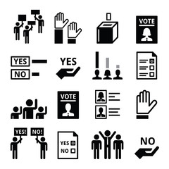 Democracy, voting, politics vector icon set