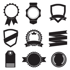 Badges, Stickers, Labels, Shields and Ribbons set. Vector vintage illustration isolated on white background.