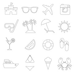 Beach line icons set. Summer holidays, travel and vacation symbols. Vector illustration.