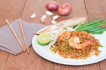 Shrimps Pad Thai, Thai Food, Thailand's national dishes.