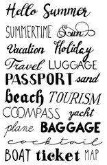 Set of hand drawn summer lettering. Travel, beach, passport, ticket, map, tourist, baggage, compass, sun, summertime, yacht, boat, holiday, vacation, luggage, sand, cocktail, plane, hello summer.