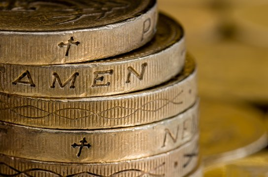 British pound coins spelling Amen