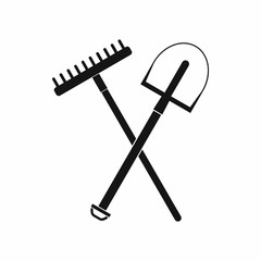 Gardening tools icon, black simple style